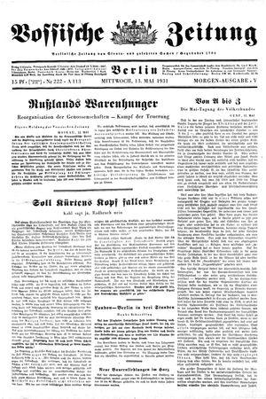 Vossische Zeitung vom 13.05.1931