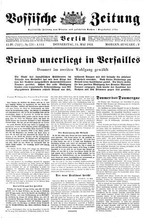 Vossische Zeitung vom 14.05.1931