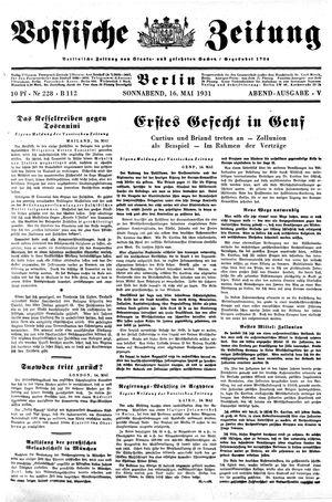 Vossische Zeitung vom 16.05.1931