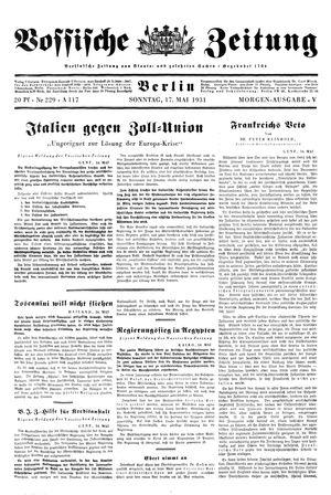 Vossische Zeitung vom 17.05.1931