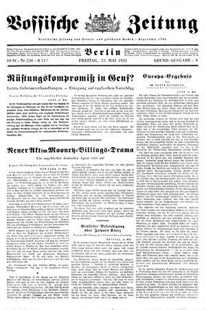 Vossische Zeitung vom 22.05.1931
