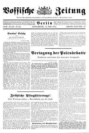 Vossische Zeitung vom 23.05.1931