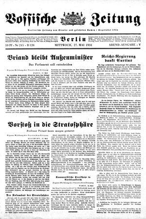 Vossische Zeitung vom 27.05.1931