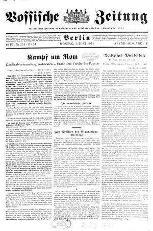 Vossische Zeitung vom 01.06.1931