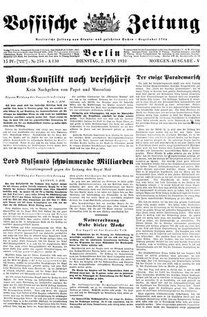 Vossische Zeitung vom 02.06.1931