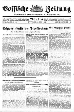 Vossische Zeitung vom 03.06.1931