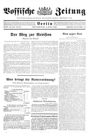 Vossische Zeitung on Jun 4, 1931