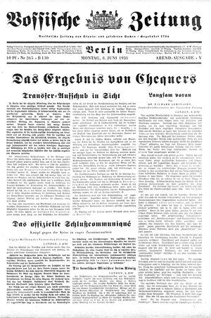 Vossische Zeitung vom 08.06.1931