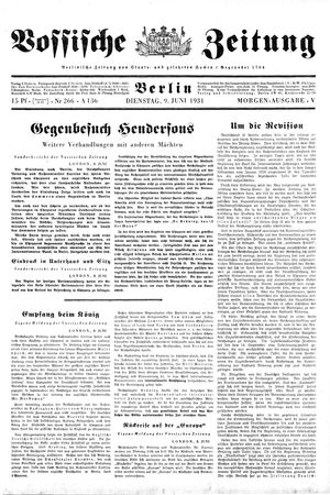 Vossische Zeitung vom 09.06.1931