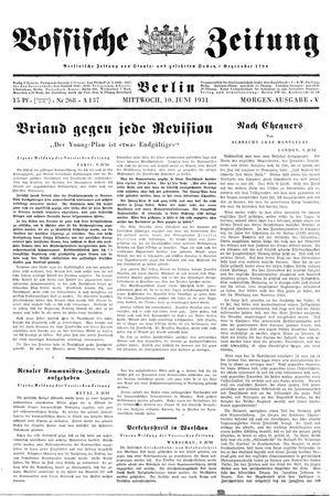 Vossische Zeitung vom 10.06.1931