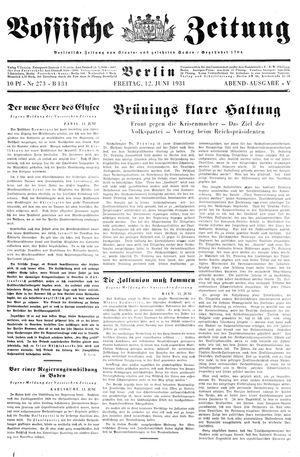 Vossische Zeitung on Jun 12, 1931