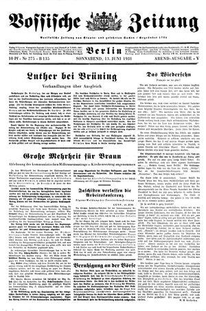 Vossische Zeitung on Jun 13, 1931