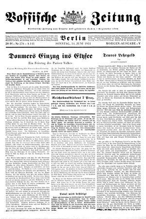 Vossische Zeitung vom 14.06.1931