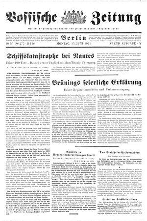 Vossische Zeitung vom 15.06.1931