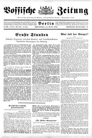 Vossische Zeitung vom 16.06.1931