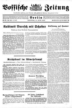 Vossische Zeitung vom 21.06.1931