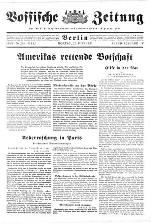 Vossische Zeitung vom 22.06.1931