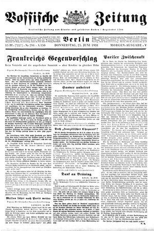 Vossische Zeitung vom 25.06.1931