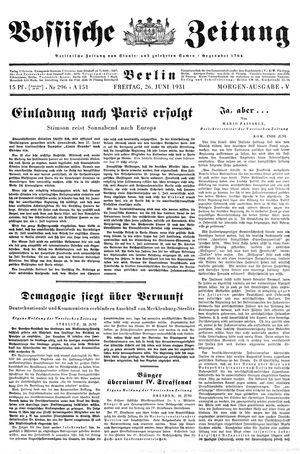 Vossische Zeitung vom 26.06.1931