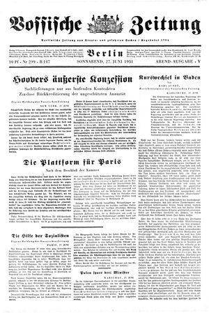 Vossische Zeitung vom 27.06.1931