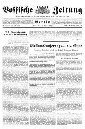 Vossische Zeitung vom 29.06.1931