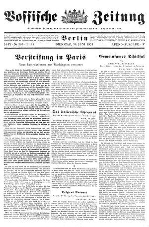 Vossische Zeitung vom 30.06.1931