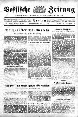 Vossische Zeitung vom 16.07.1931