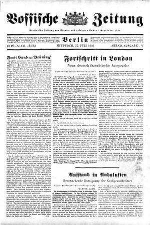 Vossische Zeitung vom 22.07.1931