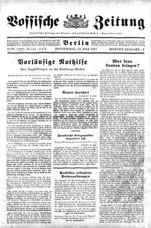 Vossische Zeitung vom 23.07.1931