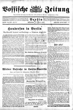 Vossische Zeitung on Jul 27, 1931