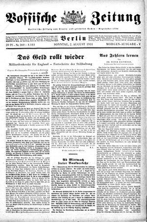 Vossische Zeitung vom 02.08.1931