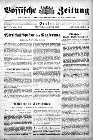 Vossische Zeitung vom 03.08.1931