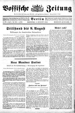 Vossische Zeitung vom 04.08.1931