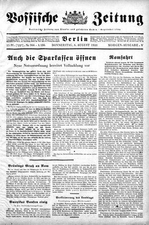 Vossische Zeitung vom 06.08.1931