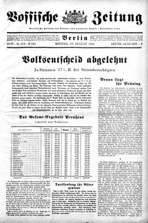 Vossische Zeitung vom 10.08.1931