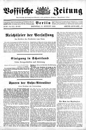 Vossische Zeitung on Aug 11, 1931