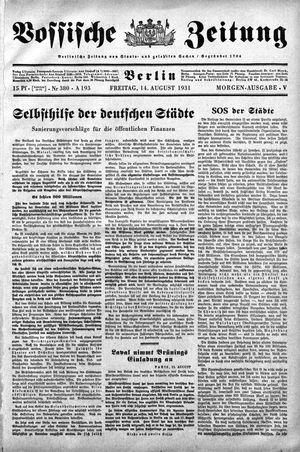 Vossische Zeitung on Aug 14, 1931