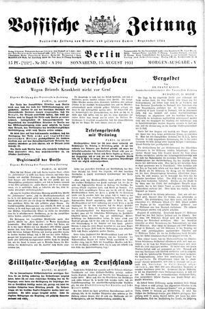 Vossische Zeitung vom 15.08.1931