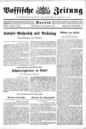Vossische Zeitung on Aug 16, 1931