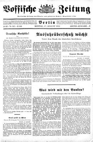 Vossische Zeitung on Aug 17, 1931