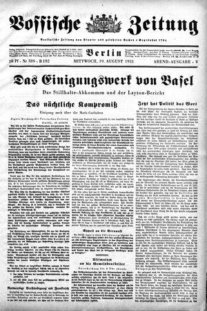 Vossische Zeitung vom 19.08.1931