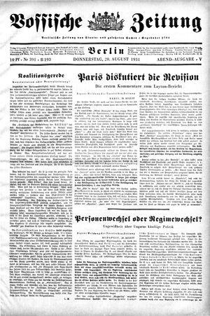 Vossische Zeitung vom 20.08.1931