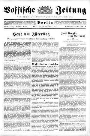 Vossische Zeitung vom 21.08.1931