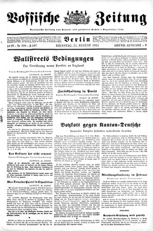 Vossische Zeitung vom 25.08.1931
