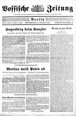 Vossische Zeitung vom 27.08.1931