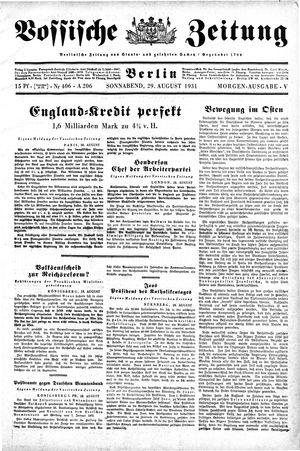 Vossische Zeitung vom 29.08.1931