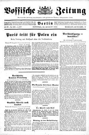 Vossische Zeitung vom 30.08.1931