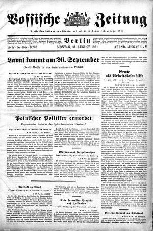 Vossische Zeitung vom 31.08.1931