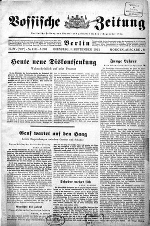 Vossische Zeitung vom 01.09.1931
