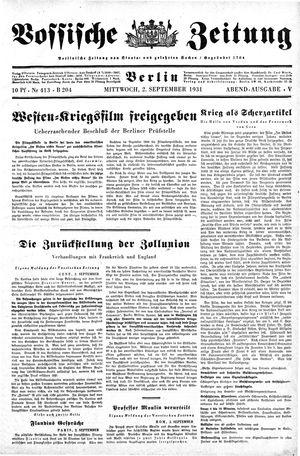 Vossische Zeitung vom 02.09.1931